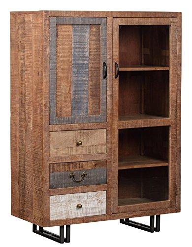 The Wood Times Kommode Highboard Schrank Massiv Vintage Look New Rustic Mangoholz, BxHxT 95x135x45 cm