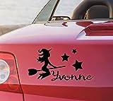 tjapalo® pka4 Namensaufkleber Autoaufkleber namen Aufkleber Auto Aufkleber Name heckscheibenaufkleber süße Hexe mit Sternen und Name (B15 x H9 cm)