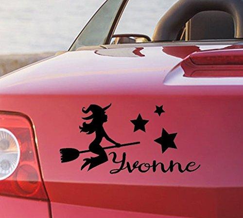 tjapalo® pka4 Namensaufkleber Autoaufkleber namen Aufkleber Auto Aufkleber Name heckscheibenaufkleber süße Hexe mit Sternen und Name (B29 x H18 (TOP)) (Name-aufkleber Für Autos)