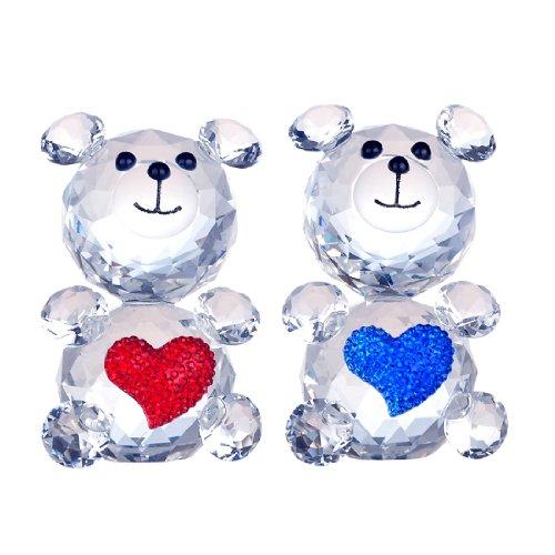 H y D 2 Piezas Corte Cristal Amor Oso Animal Adorno de Cristal Figura de colección (Rojo y Azul)