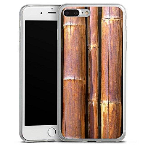 Apple iPhone 8 Plus Slim Case Silikon Hülle Schutzhülle Bambus Bambusrohr Braun Silikon Slim Case transparent