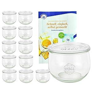 MamboCat 12er Set Weckgläser 580 ml Tulpenform mit Deckel I Original Weck Tulpenglas Dessertglas I Einweckgläser mit Deckel für Obst Gemüse UVM I inkl. Diamant-Zucker Gelierzauber Rezeptheft