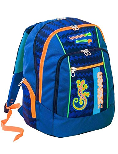 Zaino scuola advanced SEVEN - GECKO BOY blu - Patch FOSFORESCENTI - 30 LT - inserti rifrangenti