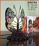 Graf von Gerlitzen Tiffany Tiffanylampe Stand Tisch Schmetterling Lampe Tischlampe GN194Götzing