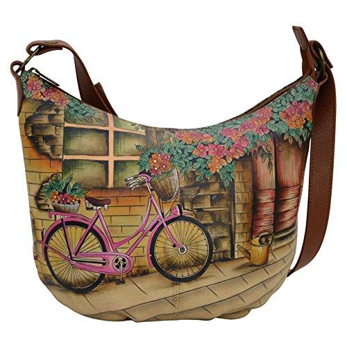 Vintage-top-zip (Anuschka Handgemalte Designer Handtasche aus Leder -Christmas Geschenke Top Zip Bucket Hobo (Vintage Bike 471 VTB))