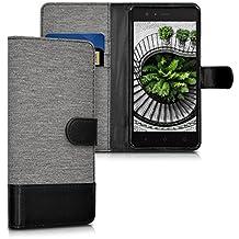 kwmobile Funda para bq Aquaris M5 - Wallet Case plegable de cuero sintético - Cover con tapa tarjetero y soporte en gris negro
