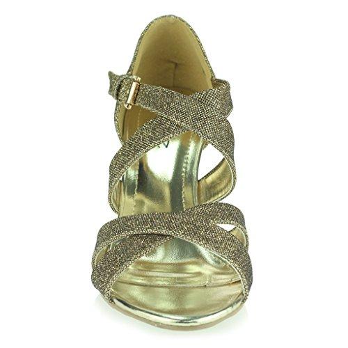 Frau Damen Schimmern Riemen Hoher Absatz Plattform Abend Party Hochzeit Abschlussball Sandale Schuhe Größe Braun