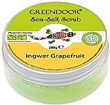 Greendoor Körperpeeling Meersalz Ingwer Grapefruit, 4,4 Sterne, natürliches Salz-Peeling ohne Mikroplastik, Duschpeeling ohne Konservierungsmittel, 280g Body Scrub, Sauna-Salz