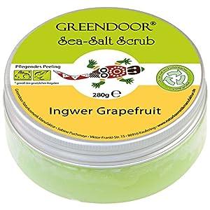 4,5 Sterne Greendoor Körperpeeling Meersalz Ingwer Grapefruit 280g, natürliches Salz-Peeling ohne Mikroplastik, Duschpeeling ohne Konservierungsmittel, Body Scrub, Sauna-Salz