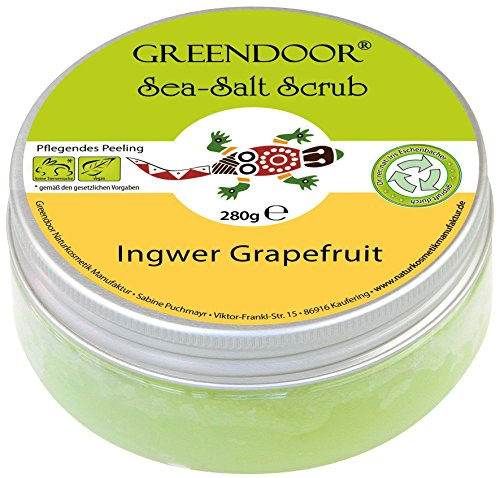 Greendoor Körper-Peeling Sea Salt Scrub Ingwer Grapefruit, Meer-Salz-Peeling ohne Mikroplastik, Duschpeeling ohne Konservierungsmittel, 280g, Body Scrub, Greendoor Premiumversand