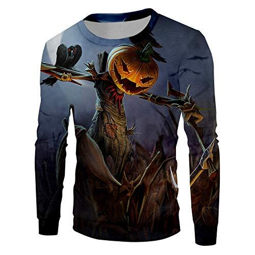 Ai Ya-weiyi Happy Halloween Crow Thema Sweatshirt 3D-Gedruckten Vogelscheuche Und Kürbis Kopf Männer Pullover Liebhaber Kleidung