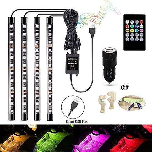 Auto Licht Streifen Auto LED Innenraumbeleuchtung Lichtleiste Auto LED Leuchten mit Sound Active Funktion und kabelloser Fernbedienung für Innenräume Kit Set[4 Stück 48 LED] (Licht 12 Volt)