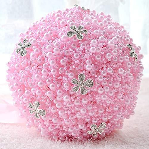 Xiaochou@sl Hochzeitsdekoration Liefert Hochzeit Holding Perle Blumen Brautstrauß Zubehör Brautjungfer Strass Party, Durchmesser: 20cm Dekoration (Farbe : Rosa)