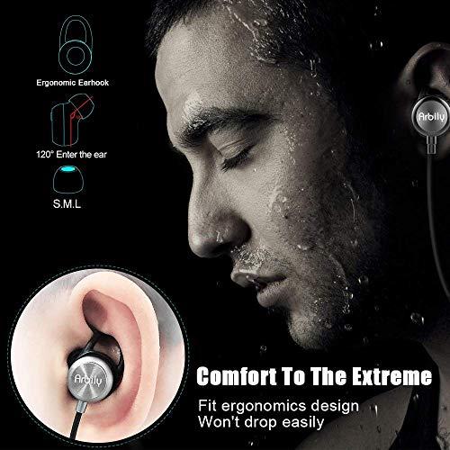 Arbily Bluetooth Kopfhörer, Y3 Sport Kopfhörer Leichter Magnetisch Stereo Noise Canceling Kopfhörer Wireless IPX7 Sweatproof In-Ear Sport Headset mit Mikrofon für Sport, Reisen und mehr(Silber) - 5