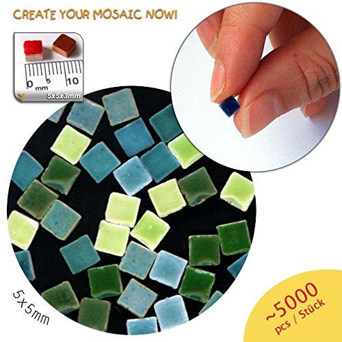 Mini Mosaïque (5x5x3mm), 5000 tesselles, mix vert, MXVR