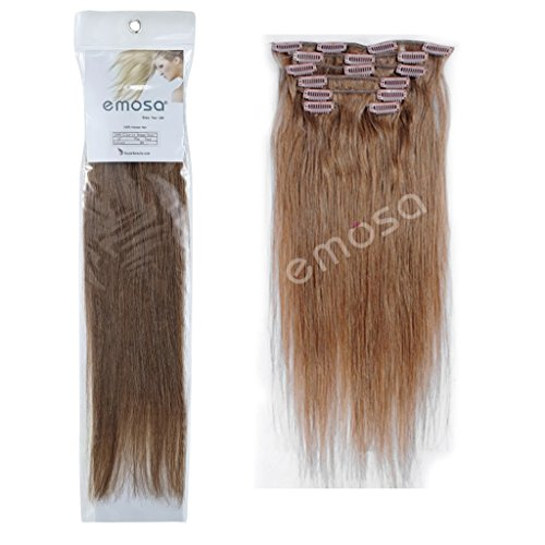Emosa 8Pcs 90g Full Head Clip In Silky Soft Remy Real Human Hair Extensions 22