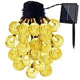 Usboo Solar-Lichterkette für den Außenbereich, wasserfeste Solar-Lichterkette für Weihnachten, Hochzeit, Dekoration, Kugeln, Gartenlichter, 2 Modi, 30 Leuchtmittel