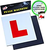 Extra Strong Magnetic L Plates for Learner Drivers, 2 Pack, BONUS Scenic Drive and Tips Guide, Guaranteed To Not Fly Off At High Speeds, Government Approved