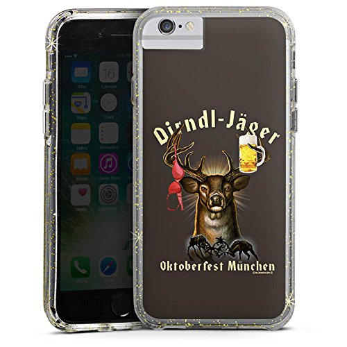 Apple iPhone 8 Bumper Hülle Bumper Case Glitzer Hülle Bayern Bavaria Wiesn Bumper Case Glitzer gold