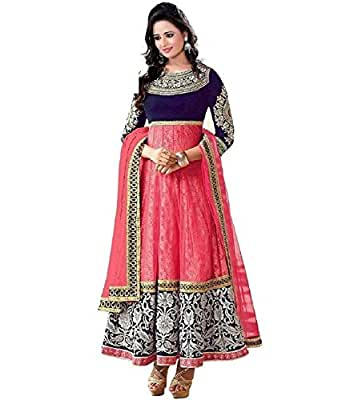 Sanshine Fashion Women's Net Anarkali Salwar Suit Set (Mahi_Pink_Free Size)