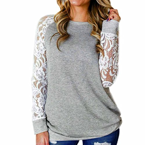 Sunnywill Damen Blusen Pullover Streetwear Fashion Lace Floral Splicing O-Ausschnitt T-Shirt Bluse Tops (Gray, L) (Floral Shirt Jacke)