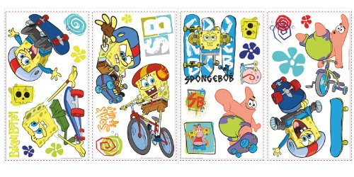 RoomMates 539007 - Adesivi riposizionabili in vinile SpongeBob sui pattini