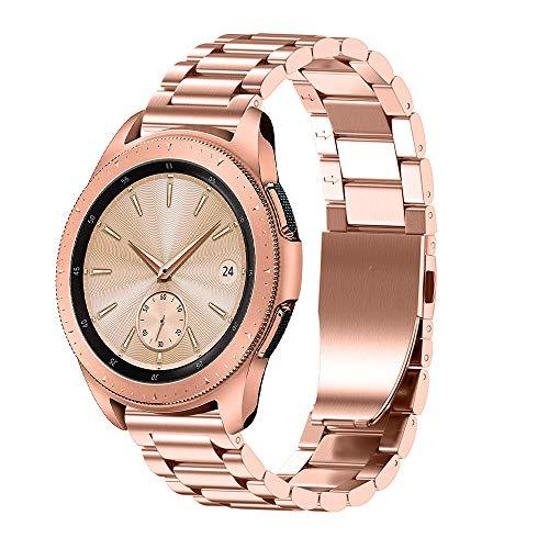 JiaMeng Diamante Pulsera de Reloj Reemplazo Banda Correa de Lujo del reemplazo de la Pulsera del Acero Inoxidable para el Reloj del Samsung Galaxy 42mm(Oro Rosa)