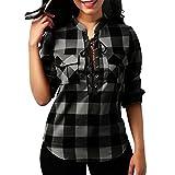 ❤️ karierte bluse,Loveso Tops Damen,Damen Schnürung V-Ausschnitt 3/4 Ärmel Loose Kariertes Hemd Bluse Oversize Cardigan Oberteil Top (Grau❤️, L)