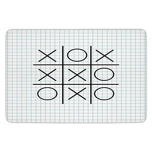 tchen Floor Mat Carpet,Xo Decor,Tic Tac Toe Motif on Square Striped Notebook Background School Artsy Design Decorative,Light Blue Black,Flannel Microfiber Non-slip Soft Absorbent ()