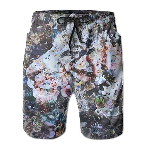 Men's Shorts Swim Beach Trunk Summer White Tiger Painting Casual Fashion Shorts with Pockets - L -