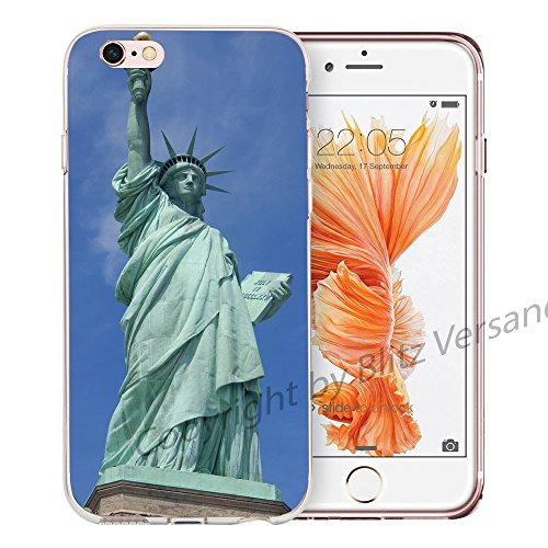 Blitz® NEW YORK motifs housse de protection transparent TPE caricature bande iPhone Aigle volant M6 iPhone 8 8s New York Statue of Liberty M16