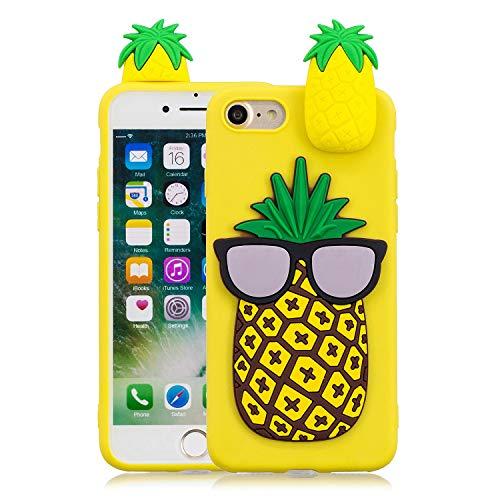 """FNBK Handyhülle Silikon für iPhone 7/iPhone 8 4.7\"""" Schutzhülle 3D Ananas Hülle Slim Cute Weiche TPU Silikon Gel Schutz Rückseite Schale Bumper Frauen Mädchen Kinder Handy Case"""