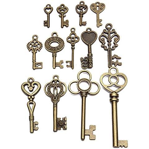 Yongse Bloqueo del arco 13pcs vieja mirada de la vendimia de la antigüedad de la llave maestra Lote Conjunto colgante del corazón de Steampunk