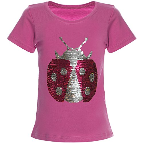 Mädchen Wende-Pailletten T-Shirt Top Bluse Kurzarm Shirt 21356, Farbe:Pink;Größe:164