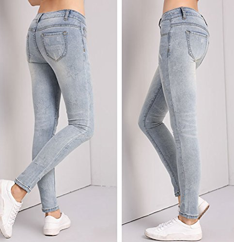 Anguang Donna Ripped Denim Lunghi Matita Pantaloni Leggings Elastico Skinny Jeans Pantaloni Leggero Blu
