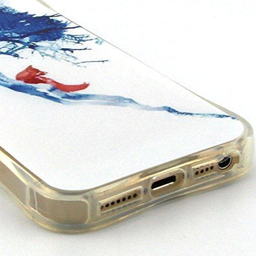 Apple iPhone 5/5S Custodia fit ultra sottile Silicone Morbido Flessibile TPU Gel Shell Custodia Case Cover Protettivo Protettiva Skin Caso Con Stilo Penna - Free to Fly(piuma) Volpe rossa sullalbero