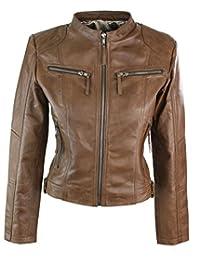 Veste Cuir Marron Clair véritable Femme Nouvelle Collection Coupe cintrée  Biker 3d4ff051ac8