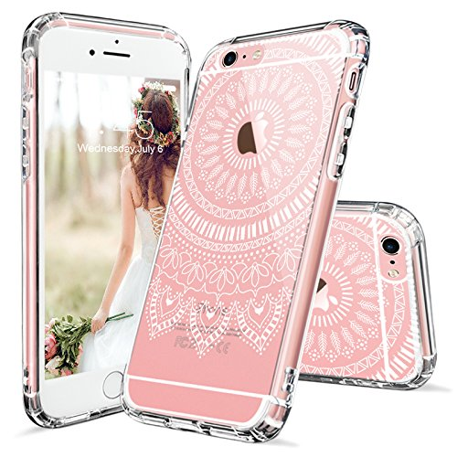 Coque iPhone 6, iPhone 6s Cover, MOSNOVO Blanc Fleur Henné Paisley Coque iPhone 6 Transparent Clair Design Motif Rigide Arrière avec Souple TPU Bumper Gel Coque de Protection Pour Apple iPhone 6/6s White Mandala