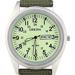 Orkina Mens Military Light Green Dial Quartz Nylon Fabric Band Date Wrist Watch P104CASLG