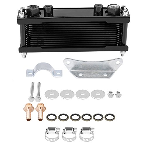 Qii lu Radiatore olio, Upgrade Alluminio Moto Radiatore olio motore Radiatore raffreddamento 50CC-200CC Universale(Black)