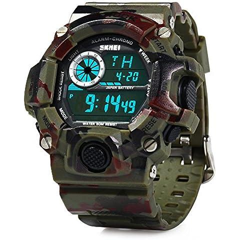 Skmei 1019 Militarial 5 en 1 Impermeable Reloj Cronómetro Alarma Calendario Deportivo LED Digital