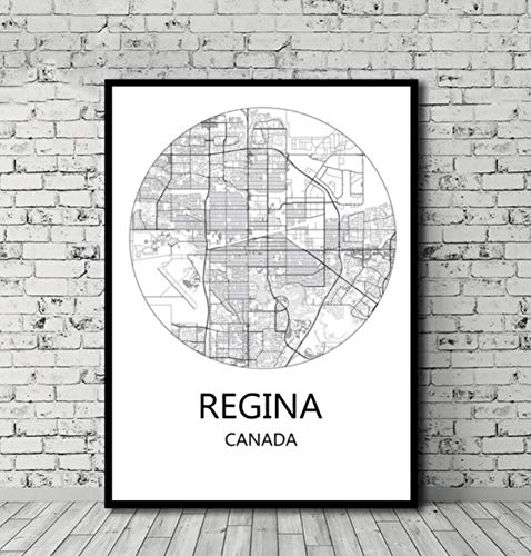 UDIYXC Schwarz-Weiß-Stadtplan Vancouver Toronto Montreal Kanada Poster Leinwand im nordischen Stil Wohnkultur ohne Rahmen, 60x80cm