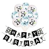 Palloncini per festa di compleanno a tema panda con glitter, coriandoli palloncini in lattice set panda, festone di vacanza (blu)