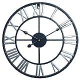 YVSoo Reloj de Pared Grande, 60CM Reloj de Pared Vintage Reloj Silencioso Reloj Decoración para Hogar Cocina Salon Oficina Comedor Habitación (Negro + Plata)