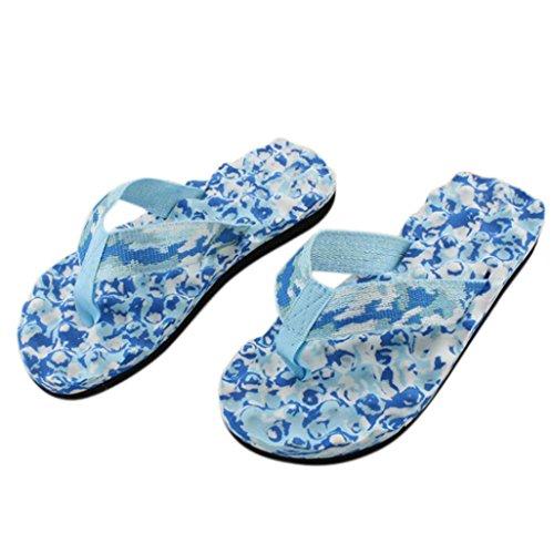Alikey Mode Femmes été Camouflage Tongs Chaussures Sandales Plage Décontractée Pantoufles Bleu