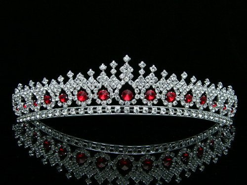Bridal Pageant Wedding Rhinestones Crystal Tiara Crown - Silver Plated Red Crystals T561 by Venus Jewelry