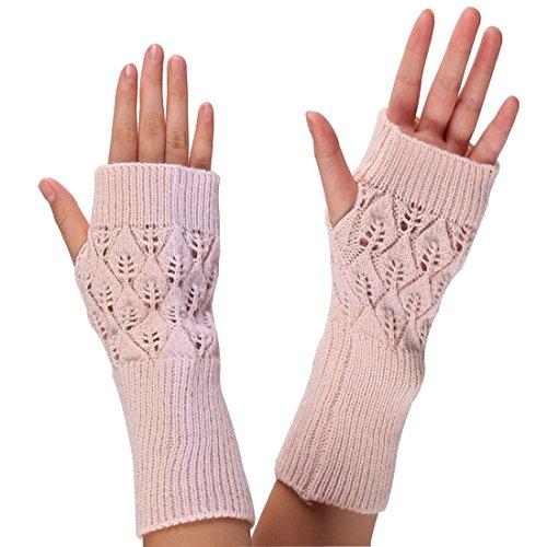 Lerben Moda Mujeres Ladies Knitted Hollow Out cálido guantes sin dedos Otoño Invierno mano muñeca calentador Mitten Rosa rosa Talla única