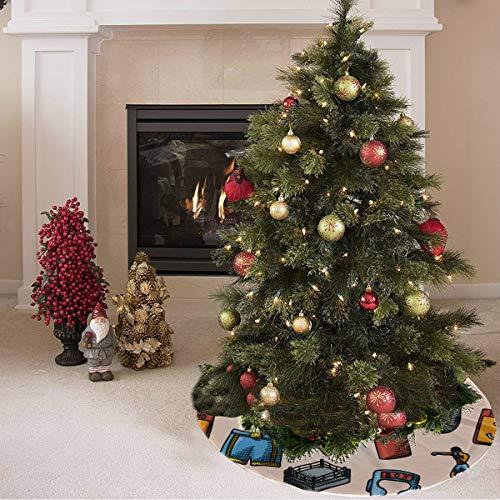 ZHANGhome Weihnachtsbaum Rock süße farbige kreative Boxhandschuhe drucken rustikale Weihnachtsbaum Rock Polyester Hallmark Baum Rock Teppich für Party Urlaub Dekorationen Xmas Ornamente