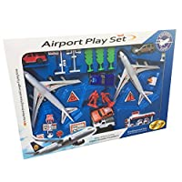 HTUK® Children Plane Gift Set Twin Plane Airport Set Kids Play Set With Aeroplanes Vehicles And Accessories