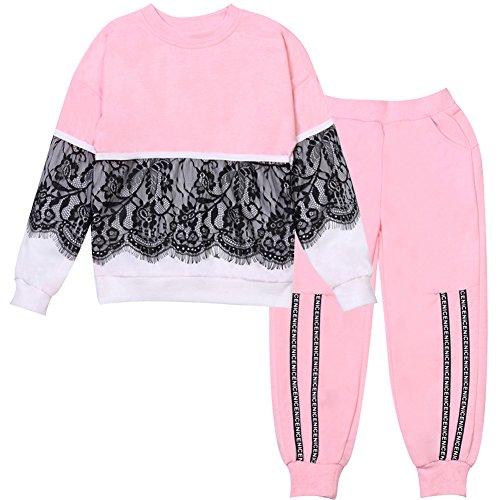 LZH Chándal Niña Larga Impresión Cordón Chaqueta + Deporte Pantalones Conjunto Trajes